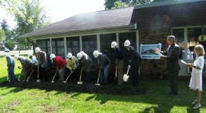 Rev. Mark Urlaub, Vinton Chaplain, and Diane Gloded, LHAA-E C.O.O., lead the ground-breaking ceremony for Vinton's new Memory Care addition in 2011.
