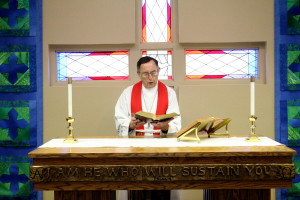 Pastor Lawrence Schmidt, Vinton Chaplain, leads Sunday Chapel Service.