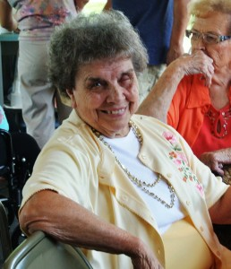 Phyllis Ebert enjoys socializing during the annual Ice Cream Social.